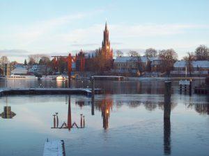 Blick auf das Kloster im Winter